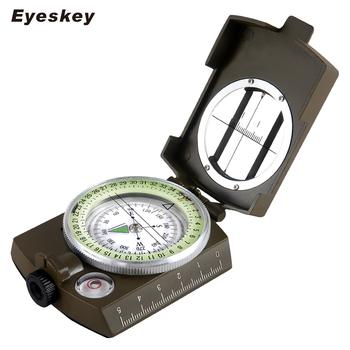 Wojskowy kompas Lensatic Eyeskey Survival wojskowy kompas piesze wycieczki odkryty sprzęt kempingowy kompas geologiczny kompaktowa skala tanie i dobre opinie Typu handheld Metal Wskaźnik Wskazując przewodnik 3 35 in x 2 52 in x 1 14 in EK1001G Mountain-wspinaczka Green 192g (6 7oz)