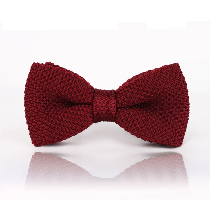 HOOYI 2019 Solid Burgundy Pretied Men's Knitted Bow Ties Butterfly Ascot