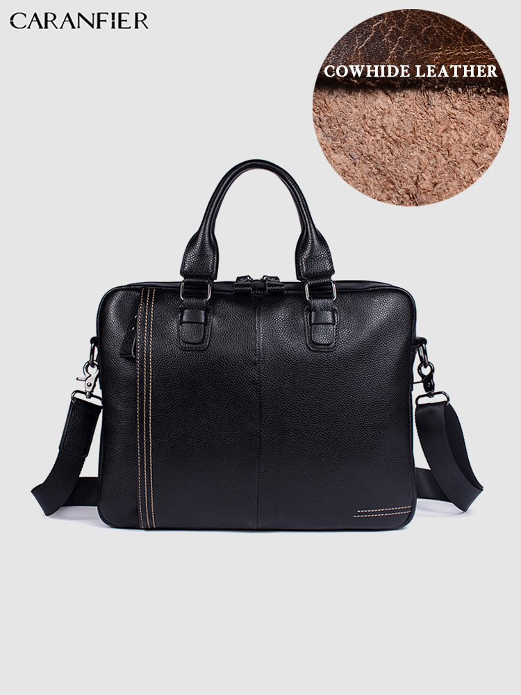 CARANFIER Mens Briefcases Business Classic Bags Genuine Cowhide Leather Laptop Computer Bags Solid Handbags Travel Luxury Tote