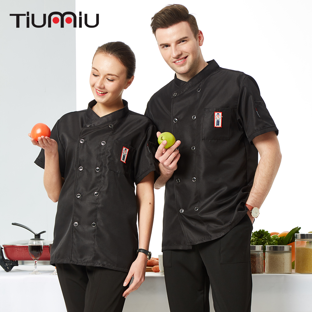 2019 New Style Summer Kitchen Chef Jacket Uniforms Short Sleeve Hotel Restaurant Cook Clothes Food Services Work Wear Overalls