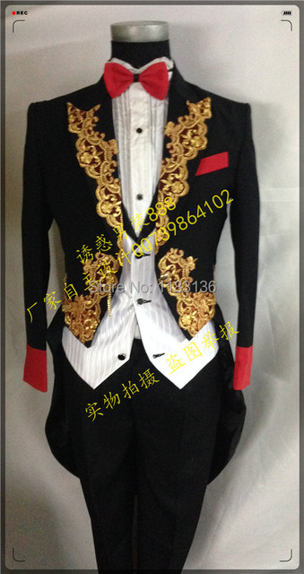 Ternos de vestido de noiva real do vestido formal casado masculino cantor show de desempenho dança