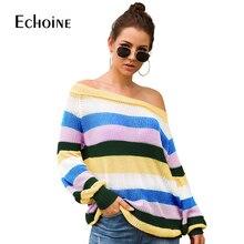 купить Rainbow Striped Sweater Women O-Neck 2019 New Fall Winter Long Sleeve Knit Loose Pullovers Jumper Sexy Casual korean sweater по цене 1028.25 рублей