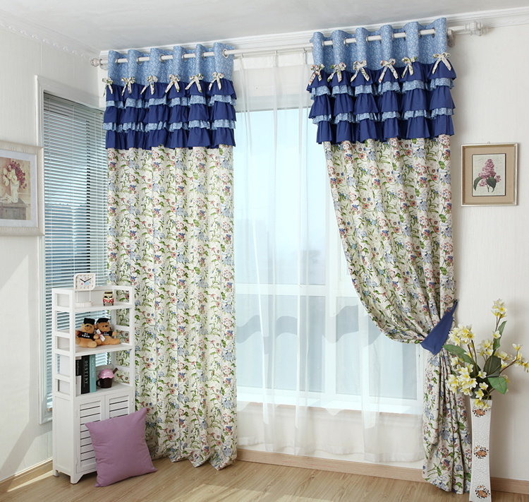 Free Shipping Simple Pastoral Blue Floral Printed Cotton Green Bedroom Living  Room Curtain Custom Curtains For ... Part 31