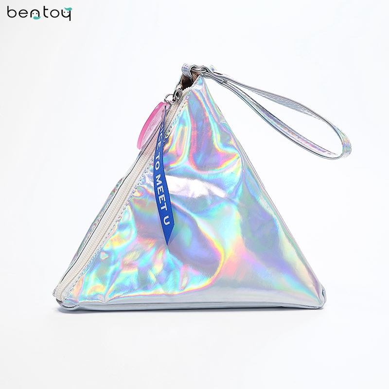 Bentoy Shining Leather Wanita Handbag Personality Triangle Purse Hologram Clutch Evening Bag Fesyen Wristlets Ladies Purse