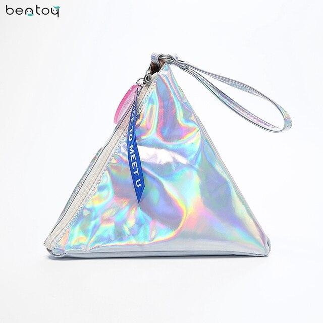 Bentoy Shining Leather Women's Handbag Personality Triangle Purse Hologram Clutch Evening Bag Fashion Wristlets Ladies Purse