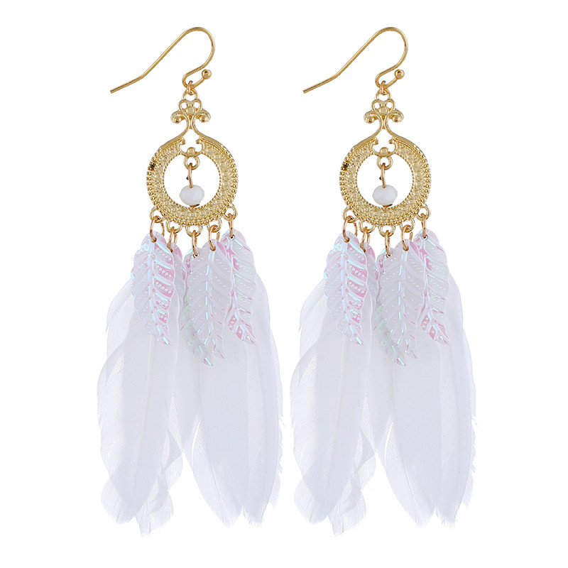 Bohemian Feather Charm Tassel Drop Earrings Hollow Gold Circle Statement Earrings For Women Wedding Bridal Jewelry collier femme in Drop Earrings from Jewelry Accessories