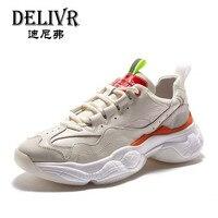 Delivr белые кроссовки мужские унисекс Толстая подошва дышащая Вулканизированная обувь Masculino Adulto Dad обувь на высокой платформе кроссовки мужс