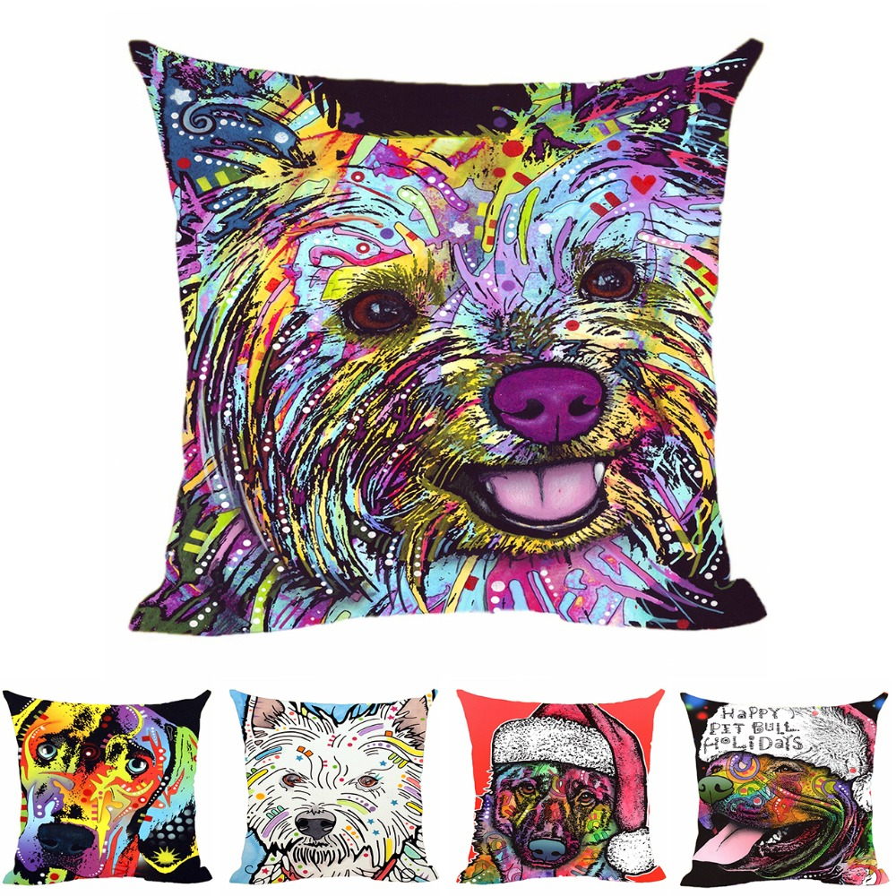Merry Christmas Animal Cushion Cover Pitbull Dog Decorative For Sofa Throw Pillow Car Chair Home Decor Case