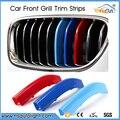 Para BMW 3 4 5 Série 5GT X1 X3 X4 X5 X6 F18 F10 F30 F15 F16 F25 F26 F35 F48 F07 3D M Estilo Do Carro Grade Dianteira Guarnição Tira adesivo