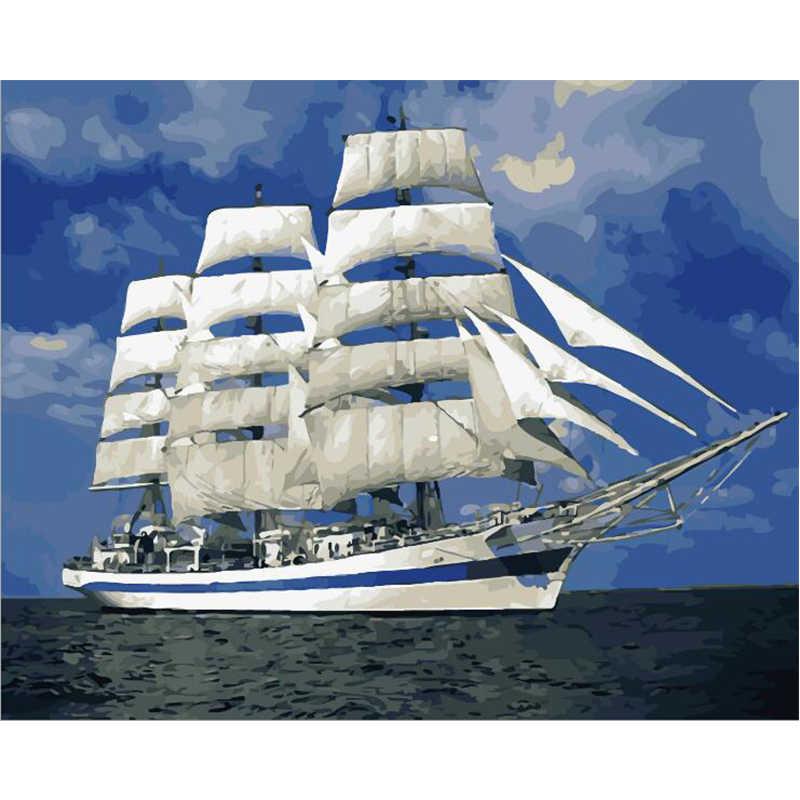 เริ่มต้น Sailing.40x50cm,ภาพวาด,DIY,wall Art,ตกแต่งห้องนั่งเล่น,ทิวทัศน์,รูป, สัตว์,ดอกไม้,กล่อง
