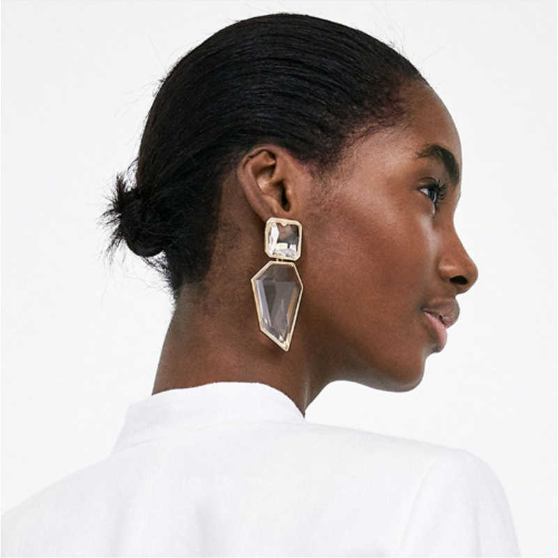 Women Trendy Geometric Acrylic Statement Drop Earrings ZA OL Style Transparent stone earring with golden edges brincos Wholesale