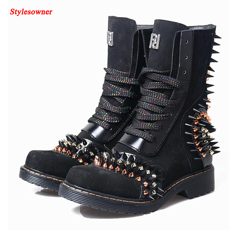 Stylesowner 2017 New Genuine Leather Short Boots Women Zipper Rivets Thick Low Heel Winter Retro Spell Color Women's Martin Boot martin new winter with thick british style short canister female fall side zipper boots