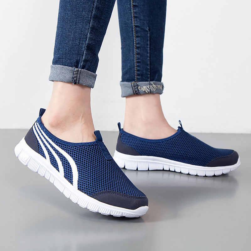 Giày Nữ Đế Bằng Thời Trang 2020 Lưới Thoáng Khí Giày Nữ Giày Nữ Giày Đi Dạo Trơn Đế Giày Dành Cho Nữ
