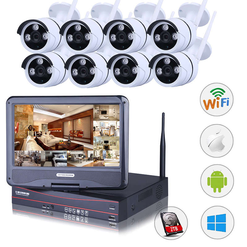 Lef 8ch Nvr Kits Wireless Cctv System 8pcs 720p Outdoor