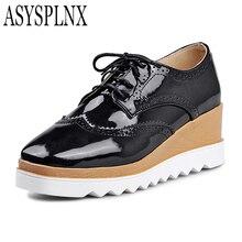 ASYSPLNX closed toe fashion flat platform women shoes autumn white balck casual school style ladies Flats womens female shoes