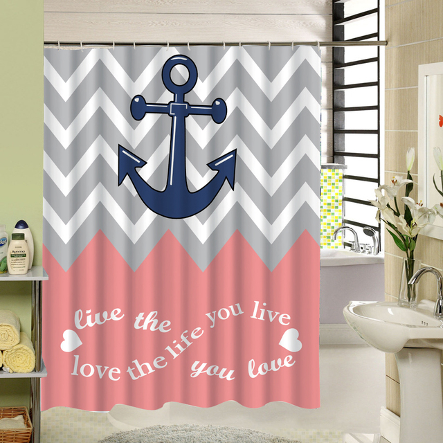 Stripe Anchor Shower Curtain Pink Gray White 3d Printing Fabric Shower  Curtain Zigzag Waterproof Bathroom Decor