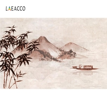 Laeacco Fishing Boat Bamboo Mountains Backdrop Photography Backgrounds Customized Photographic Backdrops For Photo Studio