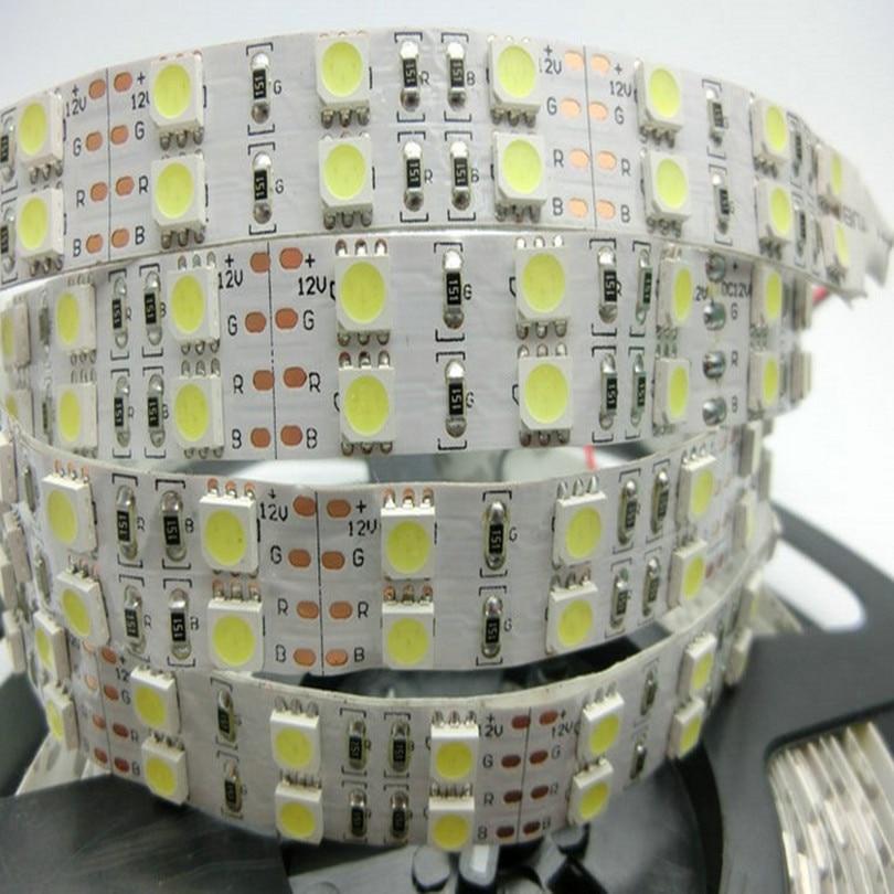 Double row 5050 rgb led strip light 120 leds m dual sided density Waterproof ip65 tape ruban tiras 5m 12v white Free Shipping 5M