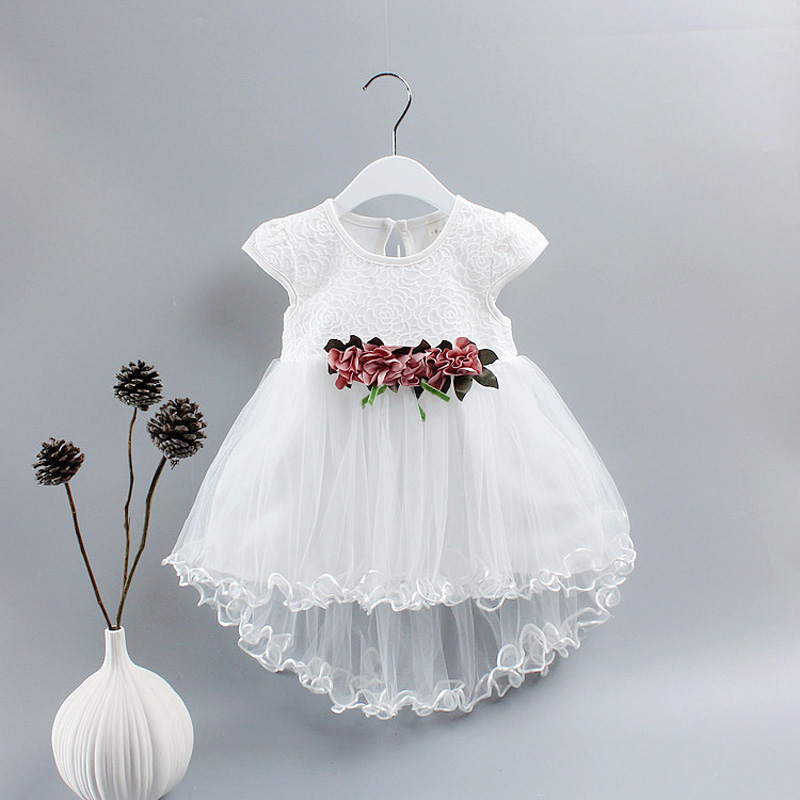 Summer Baby Girls Kids Infants Lace Mesh Flower Wedding Party Birthday Ball Gown Tutu High Low Dress Princess Vestidos S5117