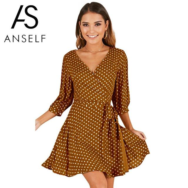 b3a155071fc Anself Women Mini Dress Polka Dot Print V Neck Three Quarter Sleeve Summer Dress  Tie-Waist Slim Elegant Dress White Yellow Red