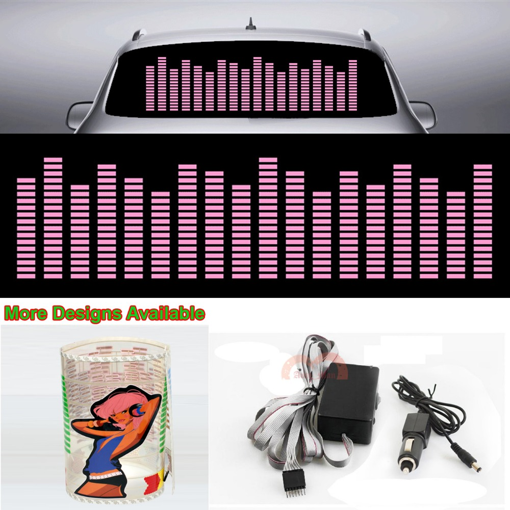 Pink Music Rhythm Strips Car Sticker Flash Light Cool Sound Activated Equalizer 90cm*25cm 35.4in*9.84in