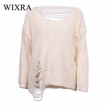 Wixra Warm and Charm Womens Long Sleeve Destroyed Ripped Slouchy Sweater Pullover Hollow Out Loose Fit Jumper Tops Knitwear