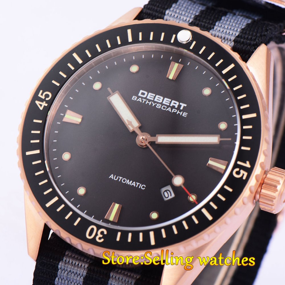43mm DEBERT Black Ceramic Bezell Gold Case miyota 821a Mens Sapphire Glass Miyota Auto Watch43mm DEBERT Black Ceramic Bezell Gold Case miyota 821a Mens Sapphire Glass Miyota Auto Watch
