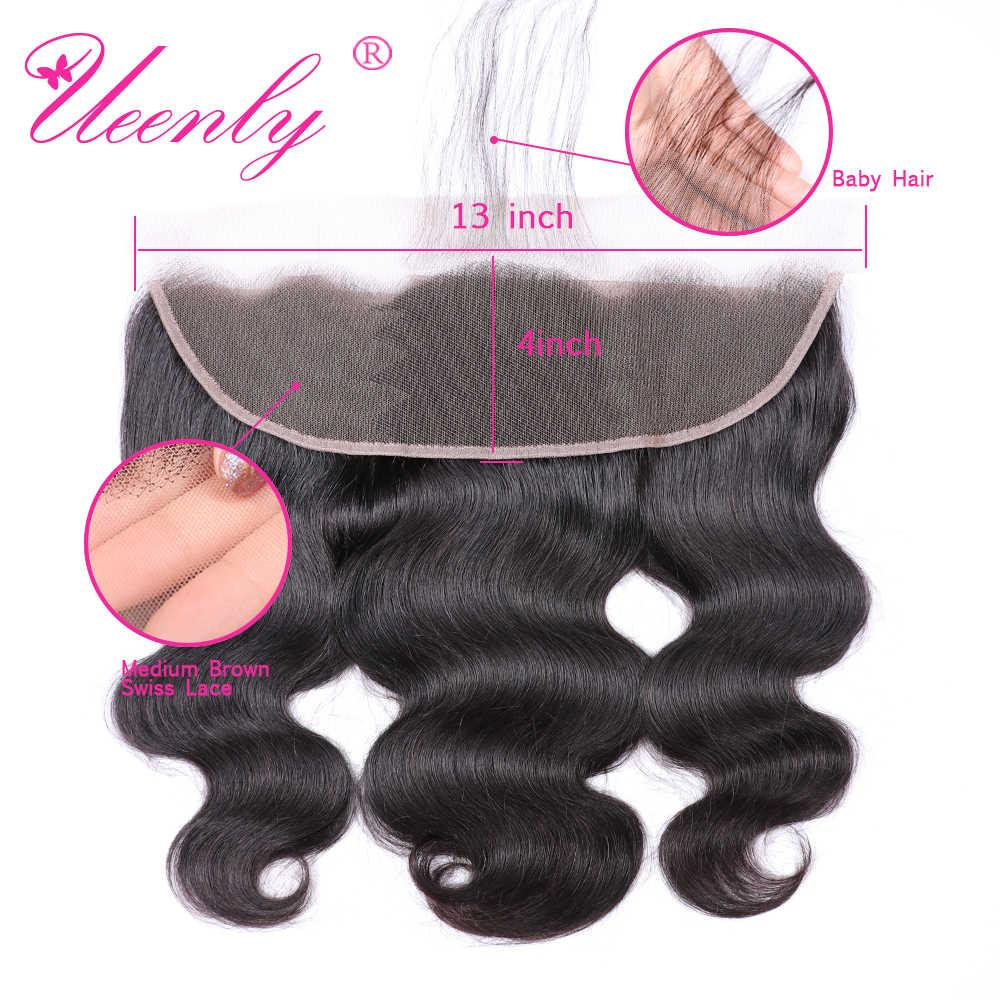 UEENLY Brasilianische Körperwelle Bundles Mit Frontal Nicht Remy 100% Menschenhaar Spitze-stirn Schliessen Mit Bundles Natürliche Farbe Haar