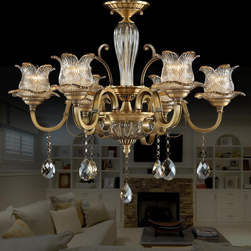 Duplex house Copper hanging Chandelier Crystal drop Lamp Living Room America Lighting Dining Room Bedroom chandelier led lustres