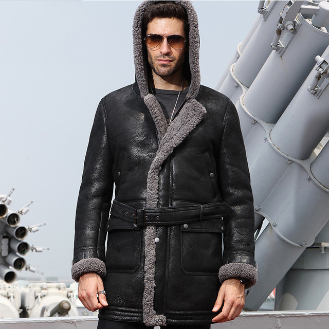 51b4c1e95e1 2019 Black Men Long Hood Genuine Casual Shearling Jacket Plus Size XXXXL  Winter Thick Slim Fit