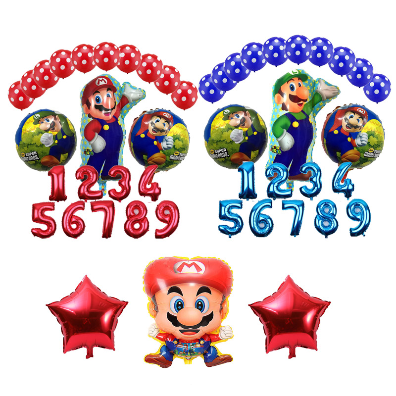 14pcs Lot Super Mario Foil Balloons Birthday Party Decorations Red Blue Number 1 9 Latex Lots Mario Helium Balloon Kid Toys