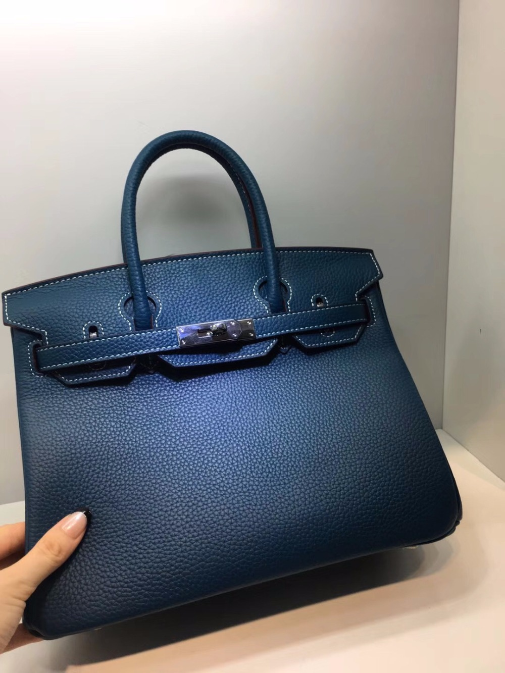 [Hely Coptar] Genuine Leather 30CM Women Peacock Blue Top-Handle Bags Cowhide Classic Style For Business Silver Metal Business 247 classic leather