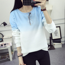 2017 Fall Winter Fashion Cool Gradient Hit Color Women Hoodies Sweatshirt Street Full Sleeve Loose M-XXL Tracksuits Female