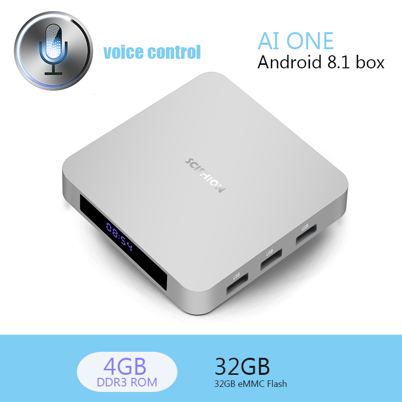 Android 8.1 TV Box AI ONE Voice Control RK3328 Quad Core 4GB RAM 32GB ROM Voice Control WiFi New Smart Media Player Set-top Box цены онлайн