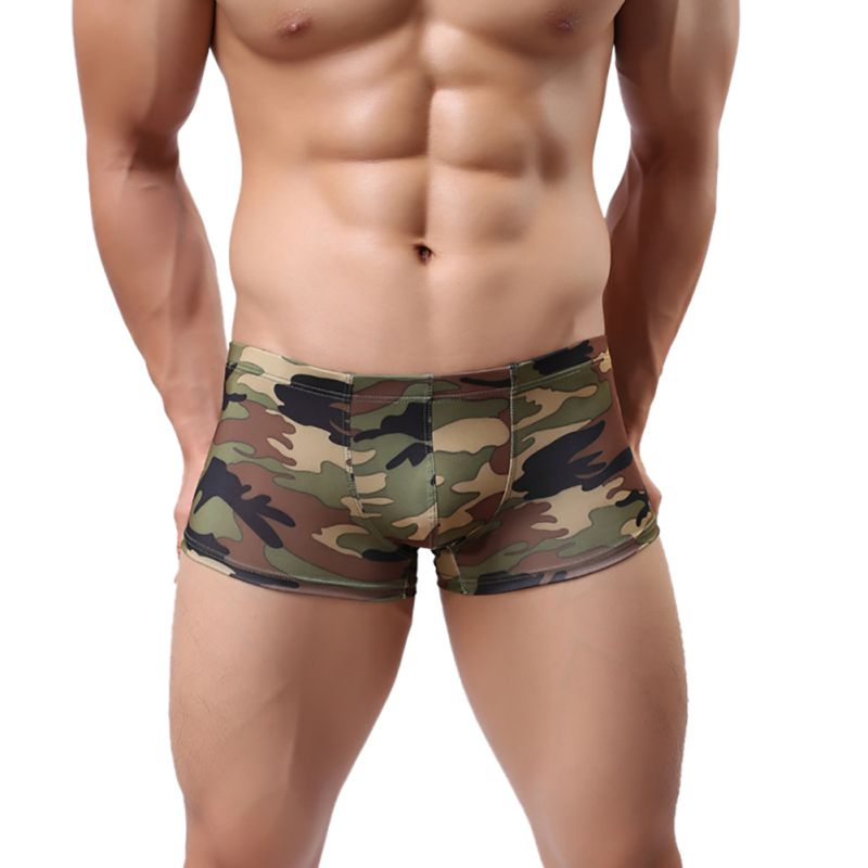 NEW Men's Sexy Underwear Sexy Army Green Camouflage Boxers Men's Gay Underwear