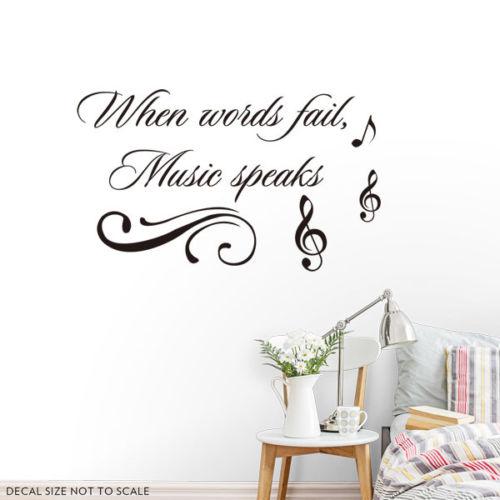 zn d446 wall sticker when words fail music speaks vinyl decals