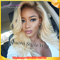 Glueless Synthetic Lace Front Wig Ombre Blonde Wig Dark Root Long Curly Wavy Hair Wig Heat Resistant Cheap Female Wig Perucas