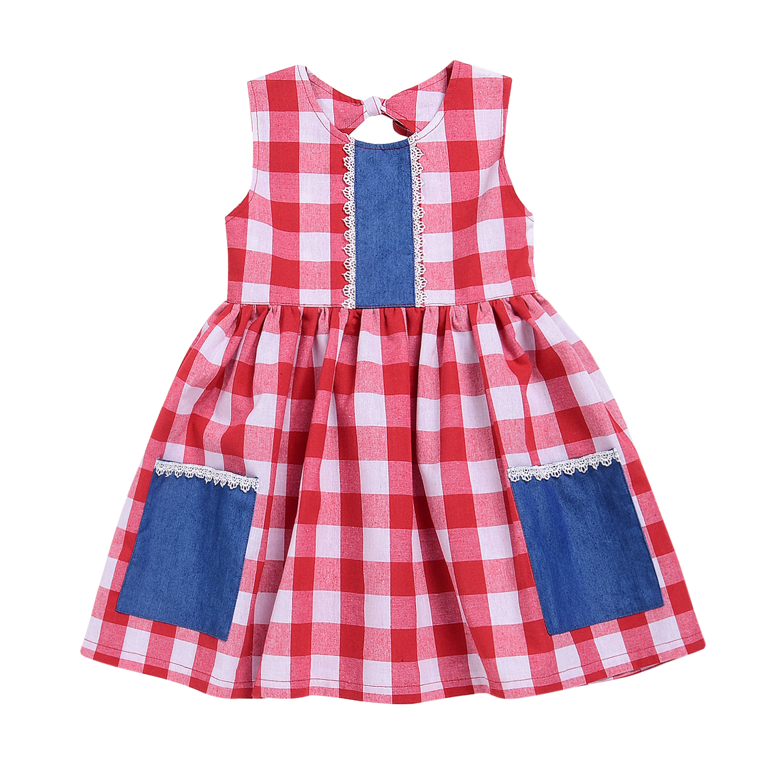 Toddler Kids Baby Girl Cotton Dresses Round Neck Sleeveless Backless