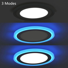 3 Mode High Bright LED Panel Light Ceiling 3W 6W 12W 18W Recessed Lamp Downlight Round Two Color White/Blue AC 110-240V + Driver