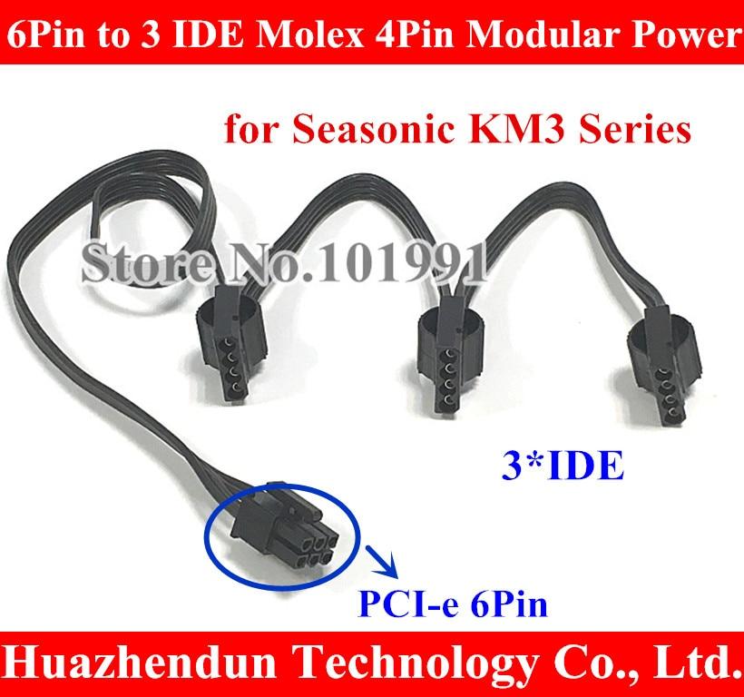 Send By DHL 6 pin 6Pin PCI-E to 3 IDE Molex 4Pin Modular Power Supply Adapter Cable for Seasonic KM3 Series 50~100pcs cap eu to send carp