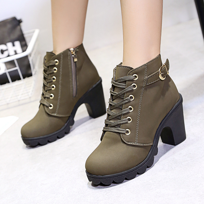 Women Boots High Heel Ankle Snow Winter Shoes Female Booties With Square