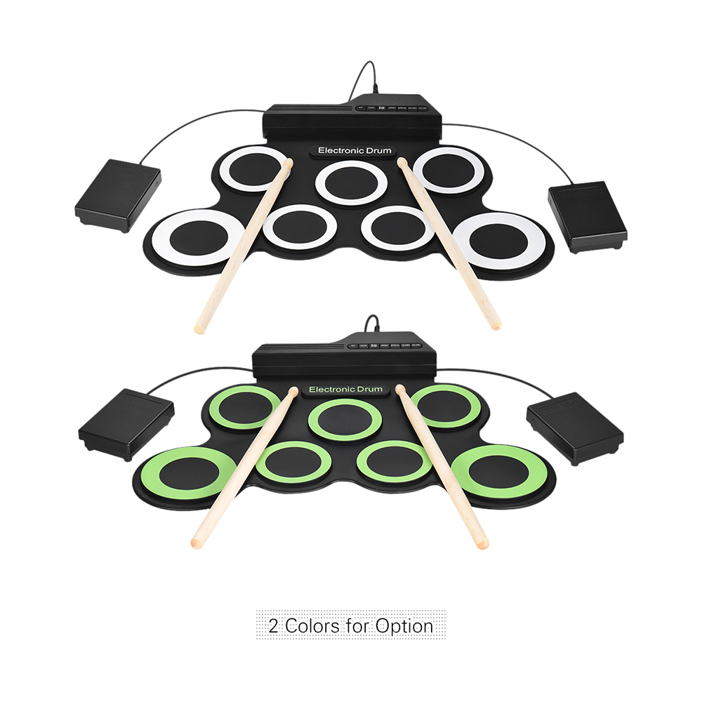 Portable Electronic Drum Digital USB 7 Pads Roll up Drum Set Silicone Electric Drum Pad Kit With DrumSticks Foot Pedal-in Drum from Sports & Entertainment    3