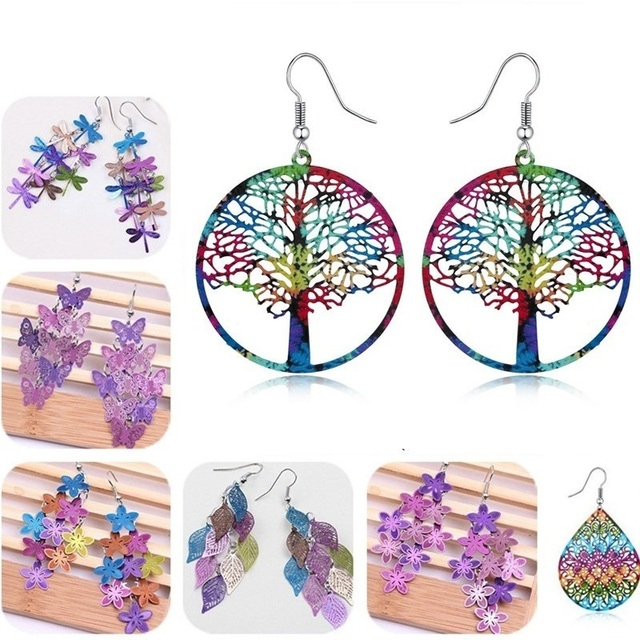 10 Style New Fashion Violet Blue color Bohemian Jewelry Drop Flower Earrings for