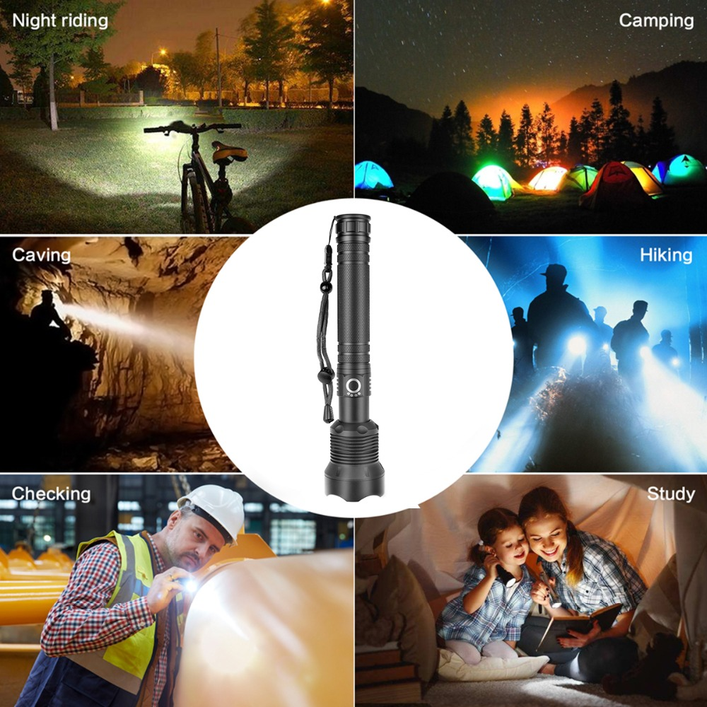 Купить с кэшбэком XHP70 50W 5000LM LED Flashlight Torch USB Rechargeable Flashlight zoomable Tactical defense flashligh For Camping hunting