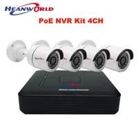 Mini PoE NVR Kit 4CH HD PoE Cameras System 720P Home Surveillance System P2P 48V Power