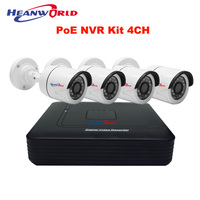Mini PoE NVR Kit 4CH HD PoE Cameras System 720P Home Surveillance System P2P 48V Power