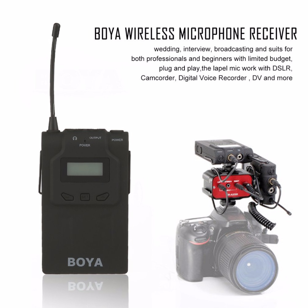 BOYA 48 Channels UHF Wireless Omnidirectional Lavalier Lapel Microphone System Bodypack Receiver for Video Camera Drop Shipping