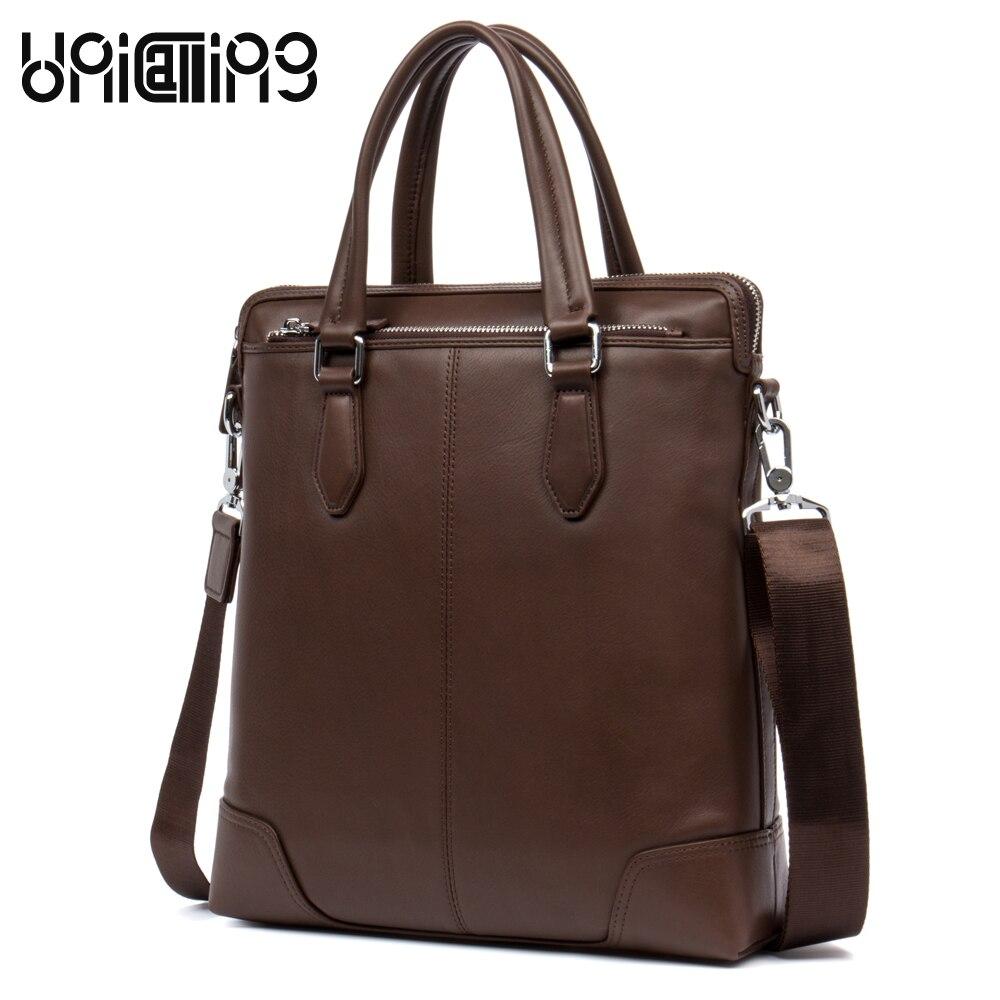 Brand men leather bags luxury fashion men real leather handbag vertical brown genuine leather men business messenger bag