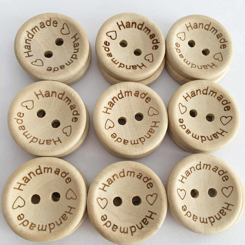 250PCs 2-hole Wooden Buttons Handmade With love 15mm Scrapbooking /& Sewing