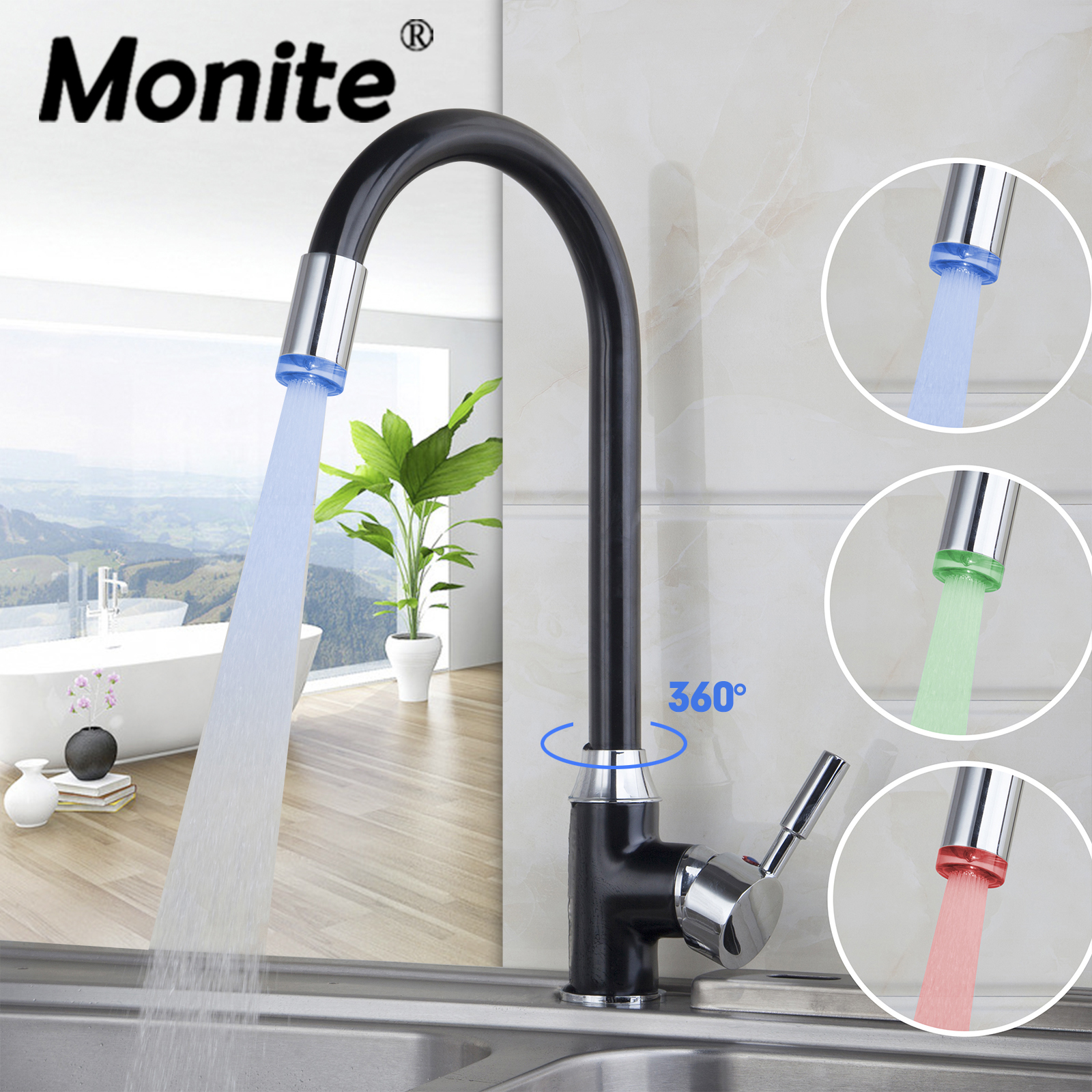 Bathroom Sink Faucet With Red, Blue Or Green LED Light